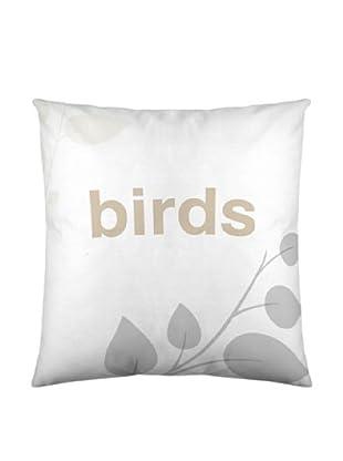 Wild About Words Funda de Cojín Birds Life 2 (Blanco / Gris)