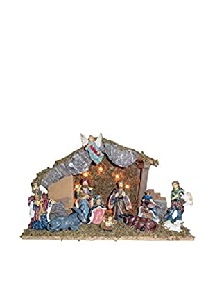 Kurt Adler 11-Piece Lighted Wooden Stable Nativity Set