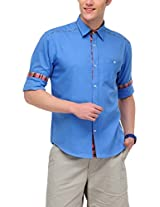 Yepme Men's Casual Blue Cotton Shirt- YPMSHRT0366_42