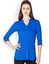 Ayaany Women Blue Cotton Shirt