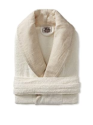 Espalma Palais Robe With Linen Shawl Collar, Ivory/Linen