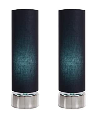 Filament Set of 2 Round Contrast Shade Table Lamps, Black/Turquoise
