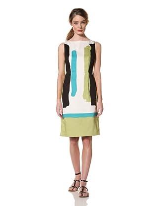 Chetta B Women's Paintbrush Sheath Dress (Lime)