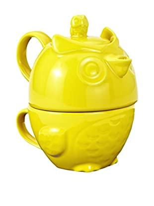 Torre & Tagus Yellow Hoot Owl Ceramic Tea For One