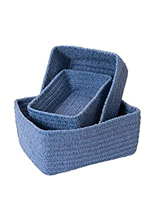 Colonial Mills Set of 3 No-Scratch Chenille Nesting Baskets, Blue Ice