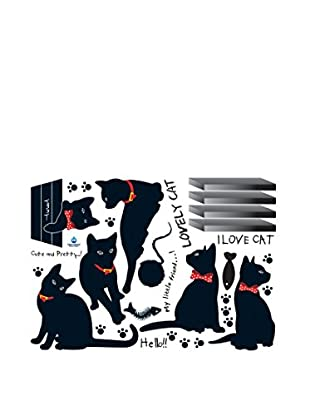 Ambiance Sticker Wandtattoo Black Cats With Bowties
