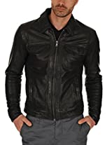 Iftekhar Men's Pure leather Jacket - Black - (Iftekhar32 - L)