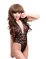 Lustful Kiss Lacy Teddy(Black)