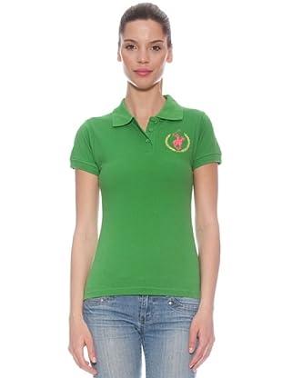 Polo Club Polo manga corta Custom Fit Logo (Verde / Rosa)
