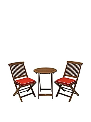 Outdoor Interiors Eucalyptus 3-Piece Bistro Set, Brown/Red