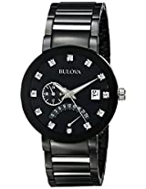 Bulova Diamond Analog Black Dial Men's Watch - 98D109