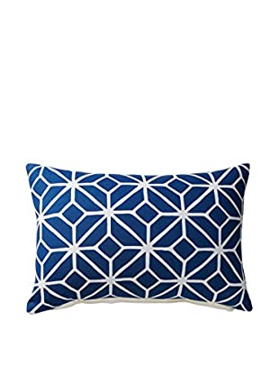 Geometric Rectangular Throw Pillow, Navy/White