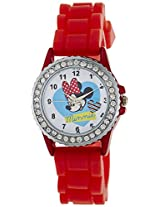Disney Analog Multi-Color Dial Girls's Watch - LP-1006 (Red)