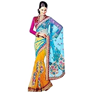 Gorgeous Net Dual Colour Embroidered Saree By Aakriti
