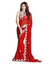 Sourbh Sarees Red Faux Georgette Must Have Best Sarees for Women Party Wear, Special Karwa Chauth Gifts for Wife, Women Clothing Collection