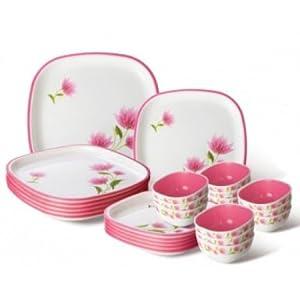 Nayasa Dlx Square Dinner Set, 24-Pieces, Pink