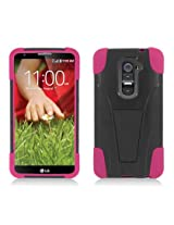 [Buy World Inc] for Lg Optimus G2 () Hot Pink Skin+black Cover Stand