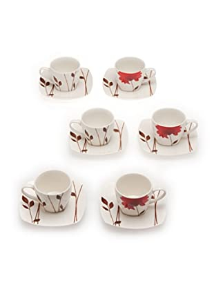 Tognana Set 6 Tazze Caffè+Piatto Biarritz bianco/rosso
