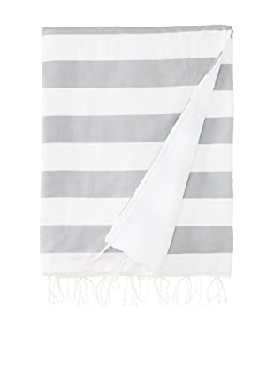 Nine Space Ayrika Beach Collection Wide Stripe Terry Fouta Towel (Gray)