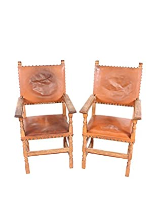 Pair of Spanish Leather Armchairs, Orange/Wood