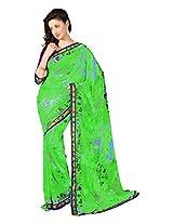 7 Colors Lifestyle Green Coloured Dani Georgette Printed Saree