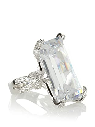 CZ By Kenneth Jay Lane Emerald Cut Solitaire Ring (Silver)