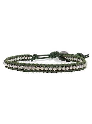 Lucie & Jade Echtleder-Armband Metallbeads grün/silber