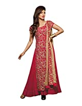 Jinaam Dresses Women's Faux Leather Readymade Anarkali Suit (Jd-5037 _Red _Free Size)