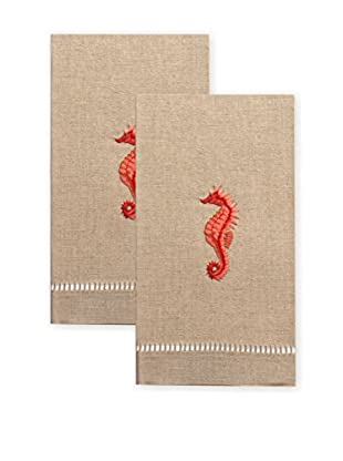 Henry Handwork Set of 2 Red Seahorse Embroidered Hand Towels, Natural