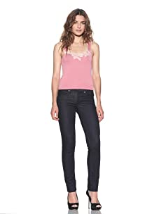 RED Valentino Women's Lace-Trimmed Knit Tank (Rose/Beige)