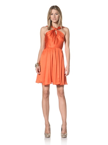 Halston Heritage Women's Knot Front Dress (Tangelo)