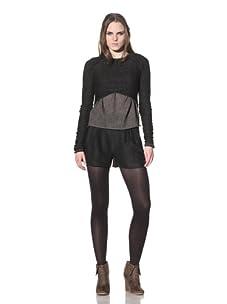 Rogan Women's Tokushima Cropped Crew Sweater (Heathered Black)