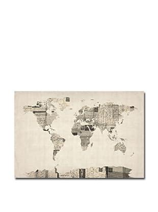 Michael Tompsett Vintage Postcards World Map Print on Canvas (Multi)