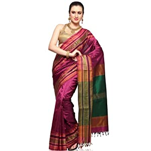 Dark Pink Pure Kanchipuram Handloom Silk Saree with Blouse