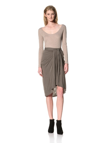 RICK OWENS Women's Knee Length Skirt with Front Gathered Panel (Darkdust)