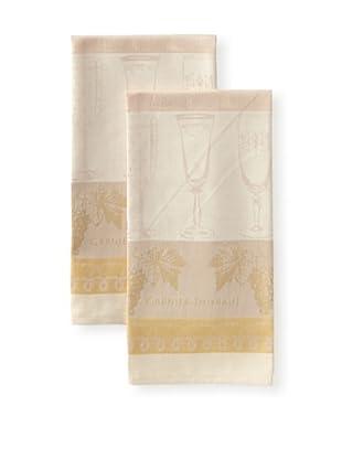 Garnier-Thiebaut Set of 2 Reims Kitchen Towels, Rose