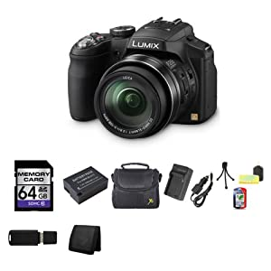 Panasonic Lumix DMC-FZ200 FZ200 DMCFZ200 12.1 MP Digital Camera with CMOS Sensor and 24x Optical Zoom - Black + 64GB SDHC Class 10 Memory Card + Lithium Ion Rechargeable DMW-BLD12 Battery + Carrying Case + Compact AC/DC Charger for DMW-BLC12 Battery + Table Top Tripod, Lens Cleaning Kit, LCD Protector + USB SDHC Reader + Memory Wallet