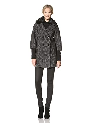 Buffalo David Bitton Women's A-Line Double Breasted Coat with Knit (Black Combo)