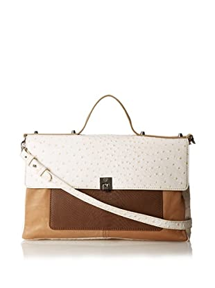 Charlotte Ronson Women's Mixed Exotic Satchel (Sand)