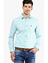 Aqua Blue Slim Fit Casual Shirt Peter England