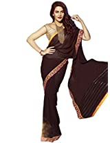 Brown Color Georgette Saree with Zari embroidery with stone work and lace border