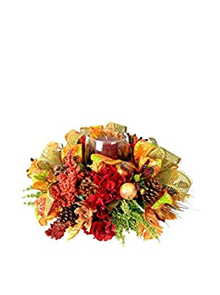 Creative Displays Fall Harvest Candle Centerpiece with Mixed Fruit, Green Heather, Astilbe & Natural Pinecones, Rust/Green/Red