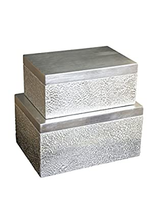 Couture Parker Set of 2 Rectangular Boxes, Silver/White Cracked Eggshell/Silver Leaf