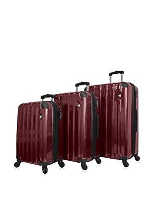 Mia Toro 3-Piece Spazzolato Lucido Hardside Spinner Luggage Set, Burgundy