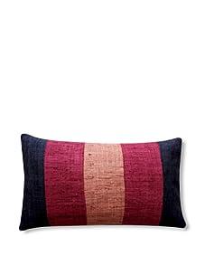 "Jiti Matka Zebra 12"" x 20"" Silk Pillow (Gold/Red)"