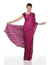 Chhabra555 Purple Faux Georgette Embroidery Saree