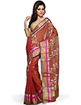 Utsav Fashion Women's Fuchsia and Ochre Pure Chanderi Silk Handloom Saree with Blouse
