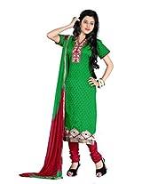FadAttire Chanderi Salwar Kameez Dress Material-Green-FASE01
