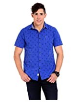 Sting Blue Solid Slim Fit Half Sleeve Cotton Casual Shirt -SG0011B156HM