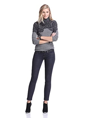 Kier & J Women's Lace Cowlneck Sweater (Gris/Black)